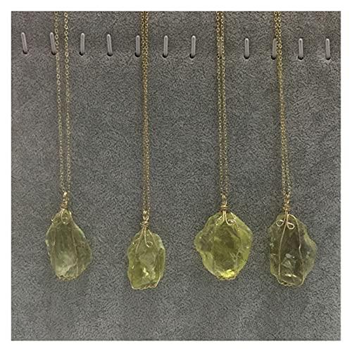 Natürlicher Rohstein Unregelmäßige Twist Crystal Quarz Anhänger Halskette Kupferdraht Wickelte Goldtone Dekoration Schmuck Machen DIY Handgemacht (Farbe : Citrine)