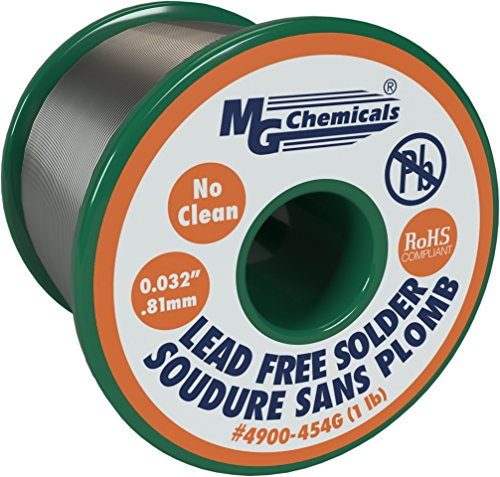 """MG Chemicals 4900 SAC305, 96,3% de estaño, 0,7% de cobre y 3% de plata, alambre de soldadura sin limpieza y sin plomo, 0,81 mm / 0,032""""de diámetro 454 gramos"""