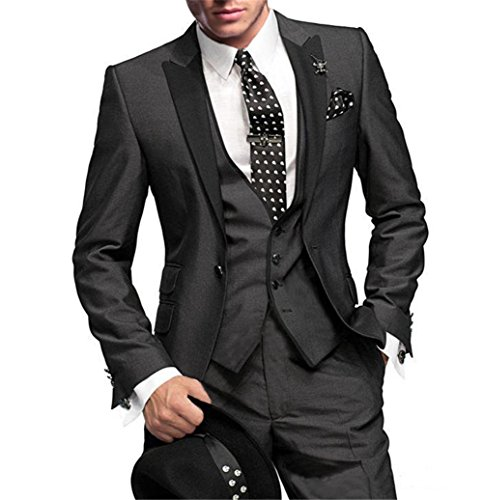 GEORGE BRIDE Herren Anzug 5-Teilig Anzug Sakko,Weste,Anzug Hose,Krawatte,Tasche Platz 002,2XL