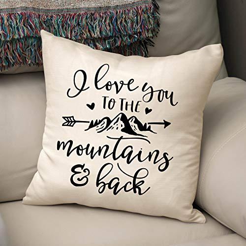 prz0vprz0v - Funda de cojín Decorativa con Frase en inglés I Love You To The Mountains and Back (45,7 x 45,7 cm), diseño de montaña
