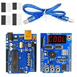 EEEEE UNO R3 ATMEGA328P ATMEGA16U2 & Multi-Function Shield Starter kit (2 in 1) for Sensor WiFi Relay Bluetooth Module with Digital Display Switches with USB Cable Compatible with Arduino IDE
