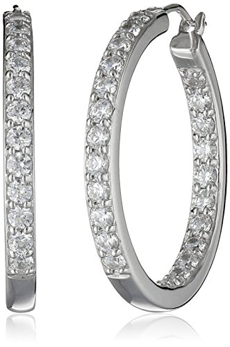 La Lumiere Platinum Plated Sterling Silver and Made with Cubic Zirconia from Swarovski (3cttw) Inside-Out Hoop Earrings