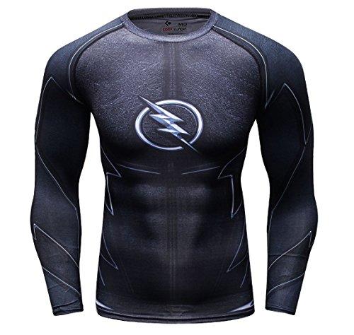 Cody Lundin Hombre de Aptitud de Apretado Culturismo Hombres Manga Larga Camiseta Slim Deporte al Aire Libre t-Shirt (XL, Black Lightning)