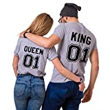 Parejas Camiseta King Queen T-Shirt 100% Algodón Shirts Impresión 01 2 Piezas de Manga Corta Rey Reina Regalo de San Jorge Camisa Casual para Amante(Grey+Grey,M+S)
