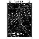 Mr. & Mrs. Panda Poster DIN A2 Stadt Reutlingen Stadt Black