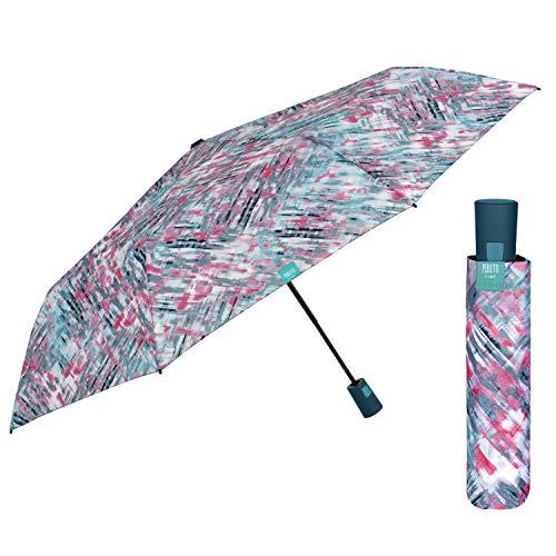 Paraguas Mujer Plegable con Detalles Escoceses - Mini Paraguas Automático de Colores Originales - Paraguas Antiviento Resistente Pequeño de Viaje - Diámetro 96 cm PERLETTI (Escocés Degradado Azul)