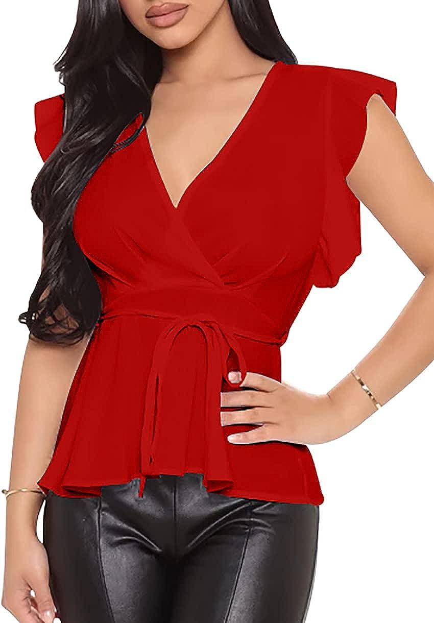GOBLES Women's Casual V Neck Wrap Ruffle Sleeve Tie Knot Tops Chiffon T-Shirt Blouse