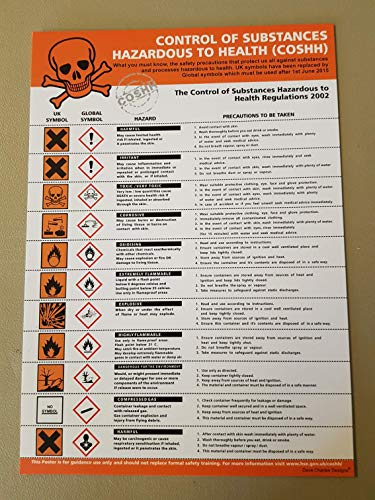 COSHH POSTER A4 (297mm x 210mm) LAMINATED 400g The clearest Cosh Cupboard Safety Sign. Health and safety signs