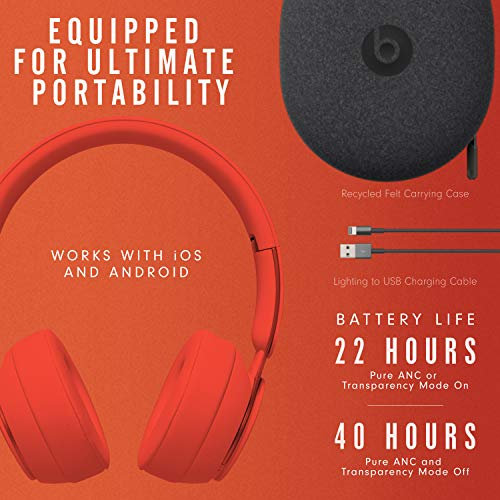Beats Solo Pro Wireless Noise Cancelling On Ear Headphones Apple H1 Headphone Chip Class 1 Bluetooth Active Noise Cancelling Transparency 22 Hours Of Listening Time Red Gear Up To Fit