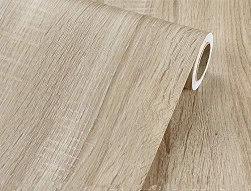 Papel adhesivo para pared con textura de grano de madera rústica, color gris claro, 40 x 200 cm