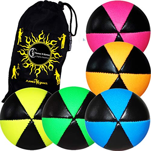 5 Balles de Jonglage ASTRIX UV - PRO Jonglerie Beanbag Jonglage Balles Leather + Sac de transport. (MultiColor)