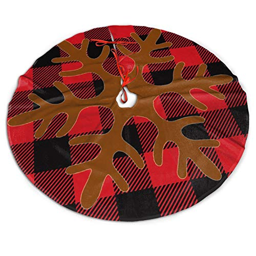 Red And Black Buffalo Check Plaid Christmas Snow Deer Antlers Themed 30 36 48 Inch Big Christmas Plush Tree Skirt Carpet Mat Rugs Cover Large Round Pad Classic Xmas Party Favors Ornament Decoration