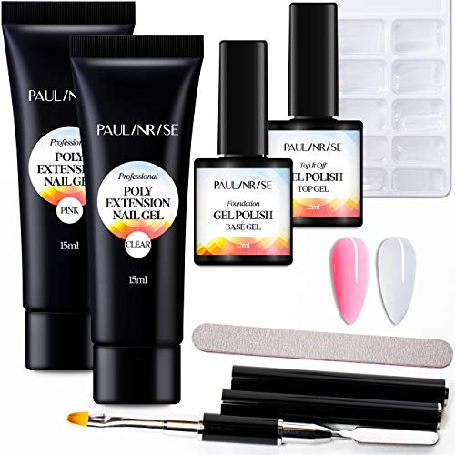 Paulinrise Poly Gel Kit for Nail - Builder Gel for Quick Nail Extension - False Nail Tips Starter Kit and Professional Nail Technician - All-in-One Easy DIY French Manicure Kit for Nail Enhancement