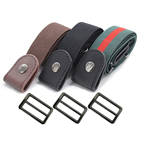 Cinturón elástico sin hebilla para mujeres y hombres cintura elástica cinturón adecuado para pantalones sin cinturón pantalones vaqueros pantalones cortos pantalones, 3 -...