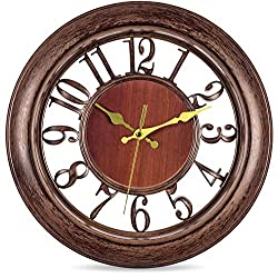 Bernhard Products Decorative Wall Clock 13 Inch Silent Non Ticking Battery Operated Vintage Rustic Brown for Living Room Decor, Kitchen Dining Room Bedroom Bathroom or Office, Large Modern Retro