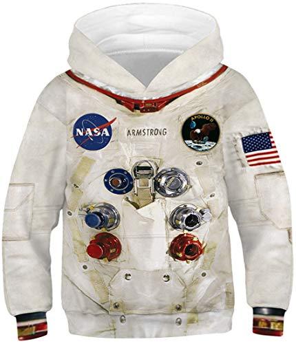 Chaos World Felpa Bambino NASA 3D con Cappuccio Felpe Bambini e Ragazzi in Felpa Kids Hoodie 6-12Y (Tuta Spaziale, S)