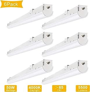 LIGHTDOT 4FT LED Shop Light, Seamlessly Linkable 4FT Shop Light for Garage, 4000K Daylight 50W 5500lm, Surface Mount/Suspend Mount for Garage, Office, Library Room or Supermarket (6 Pack)