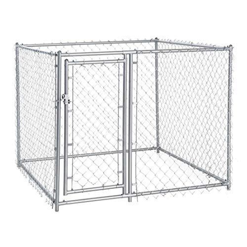 Lucky Dog CL-40528 5' x 5' x 4' Heavy Duty Outdoor Galvanized Chain Link Dog Kennel Enclosure