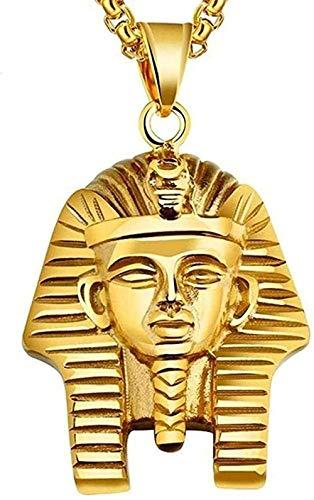 ZGYFJCH Co.,ltd Collar Moda Faraón Egipcio Akhnaton Colgante Collar Acero África Rey Joyería Tutamun Charm Hip Hop Joyería Colgante Collar Regalo para Hombres Mujeres Niñas Niños