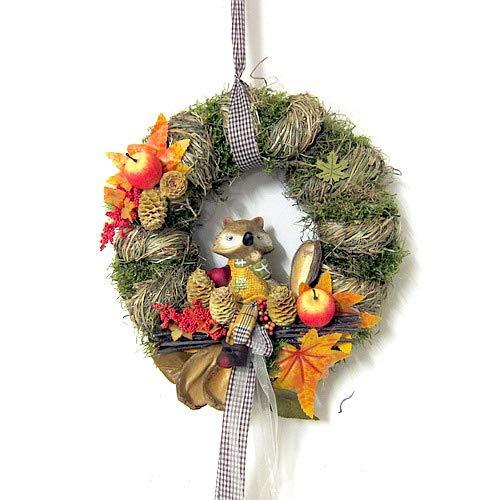 Small-Preis Türkranz Wandkranz mit Herbstdeko und Fuchs Handarbeit ø 28 cm - Herbst - Willkommensgruß