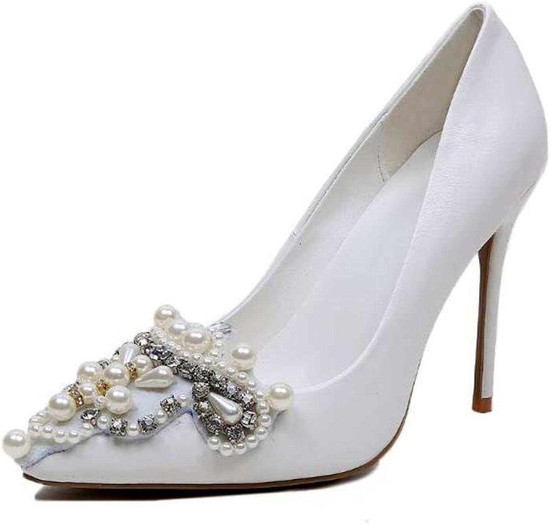 Spitze Spitze Spitze Pumpe 10cm Scarpin Weiß Hochzeit Schuhe Frau Charmant Weiße Perle Diamant High Heels Abendschuhe Party Schuhe Große Größe 34-43  2443f5