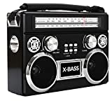 Supersonic SC-1097BT Retro AM/FM/SW 3-Band Portable Radio +Bluetooth+Flash Light Black