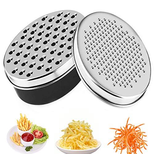 Rallador de verduras multifuncional con rallador de queso con recipiente para pelar y rallar verduras, frutas, queso (Negro)