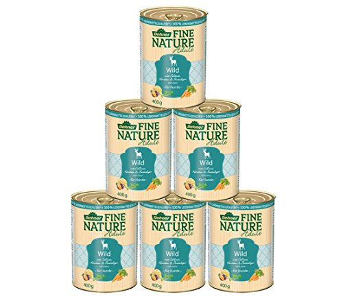 Dehner Fine Nature Hundefutter Adult, Lebensmittelqualität, Wild, 6 x 400 g (2,4 kg)