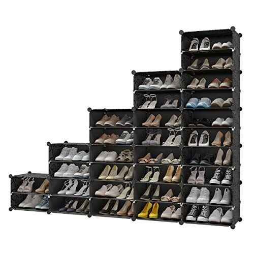 KOUSI 60-Pairs Shoe Rack for Entryway Shoe Storage Space Saver Plastic Shoe Organizer Narrow Standing Expandable for Heels Boots SlippersBlack