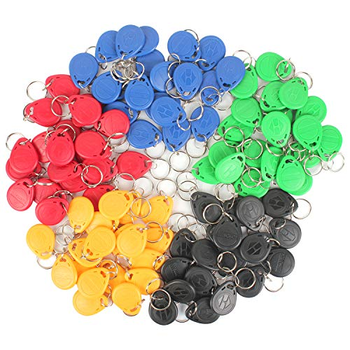 Eau 100 Pcs of 125KHz RFID Key Fobs, 5 Colors of Proximity ID Card Token Tag Keypad Card for Door Entry Access Control System for Security Lock Wholesale, Read Only