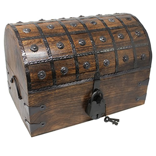 Nautical Cove Treasure Chest with Iron Lock and Skeleton Key - Storage and Decorative Box (X-Large 16 x 11 x 11)