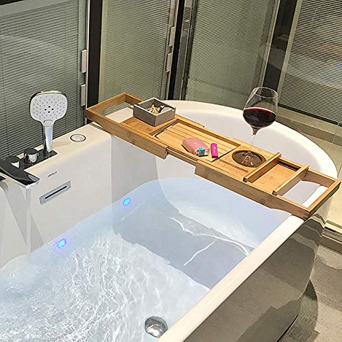 Bamboe badkuip Caddy dienblad bad spa, uitbreidbare organizer voor badkuipen met boek tablet wijnglas cup handdoekhouder, onmiskenbaar cadeau voor vrouwen