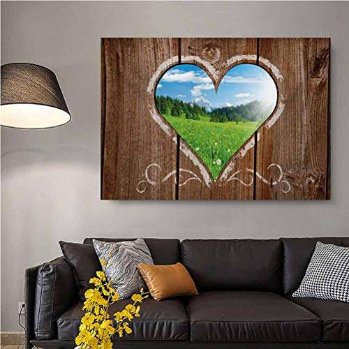 ScottDecor Outhouse No Frame Heart Window View from Wooden Rustic Farm Barn Shed with Chalk Art Image for him Brown Blue and Green L12 x H18 Inch