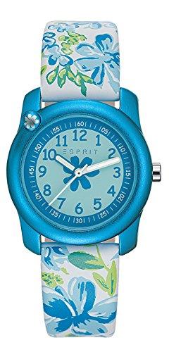 Esprit Mädchen-Armbanduhr Tropical Flowers White Analog Quarz Leder ES108344002