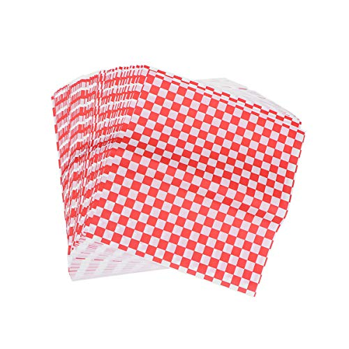 BESTONZON 100 Sheets Checkered Deli Basket Liner Kariertes Lebensmittel Wrapping Papers Fettbeständig Sandwich Hamburger Wrap verhindert Lebensmittelflecken