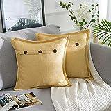 AllmarkHomes Fundas De Cojines Sofa Cojines Decorativos Funda Cojin 45x45 cm Cojines Sofa Para Sofa Con Cojines Fundas Almohadones (Amarillo Set De 2)
