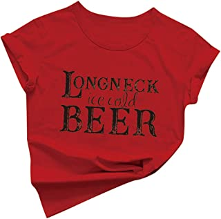 Oldlover Longneck Ice Cold Beer Shirt Women T-Shirts with Funny Sayings for Women Letters Print Drinking Tee Tops