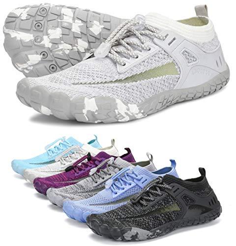 AMOCOCO Unisex Barefoot Shoes - Minimalist Training Sneakers | Wide Toe Box Quick Drying Beach Shoe Light Gray, 12.5 Women/11 Men