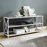 Walker Edison 2 Shelf Industrial Wood Metal Bookcase Bookshelf Office Storage, 60 Inch, Grey Wash/White