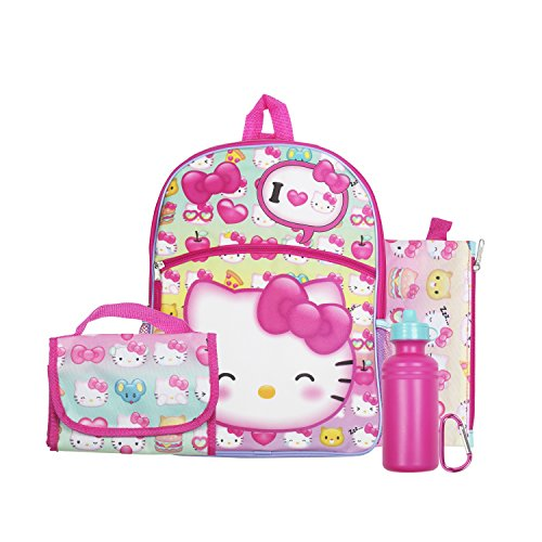 Hello Kitty Pink Bows 16' Backpack Back to School Essentials Set