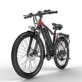 T8 26 Pouces Vélo de Montagne, vélo électrique 48V, Fourche à Suspension verrouillable, avec écran LCD à 5 réglages Pas (Red, 400W 15Ah)