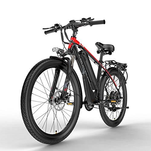 Nbrand T8 26 Pulgadas Bicicleta de montaña, Bicicleta eléctrica de 48 V, Horquilla de suspensión bloqueable, con Pantalla LCD de Ajuste de 5 Pas (Red, 400W 10.4Ah)