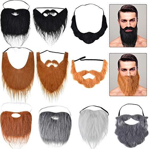 10 Pieces Fake Mustache Beards Halloween Funny Beard Facial Hair Costume Accessories with Adjustable Elastic Rope for Party Cosplay Supplies, 10 Styles