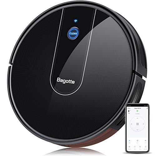 Bagotte Robot Vacuum Cleaner, Wi-Fi, Smart APP Controlled, 1600Pa Strong Suction Robotic Vacuum with Boundary Strip, Google Assistant Compatible