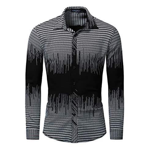 Hombres Camiseta de algodón Estiramiento Camisa de Manga Larga a Rayas, Camisa Casual Resistente al Desgaste y Resistente a Las Manchas,Negro,XXXL