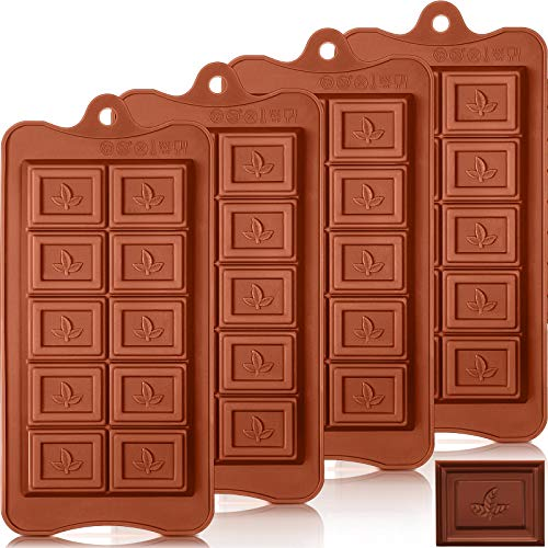4 Pieces Maple Leaf Silicone Chocolate Molds Trays Silicone Break Apart Chocolate Molds Non-Stick Protein and Energy Bar Silicone Candy Mold for Making Muffins, Cake, Candle