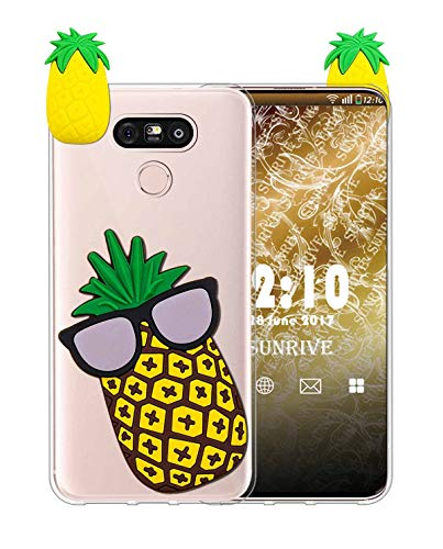 Sunrive Funda para LG G5, Silicona Transparente Funda Slim Fit Gel 3D Carcasa Case Bumper de Impactos y Anti-Arañazos Espalda Cover(W1 Piña) + 1 x Lápiz óptico