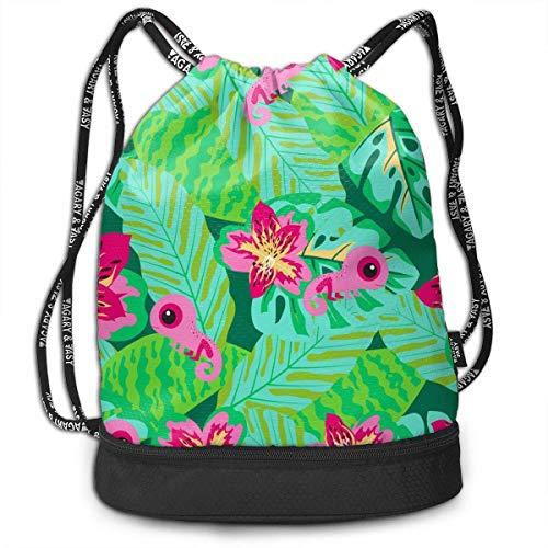 Mochila multifuncional con camaleón, unisex, con doble cordón, mochila para la escuela, deporte, gimnasio, cierre de cuerda ajustable