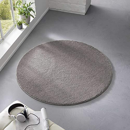 Taracarpet Teppich Kurzflor weicher Designer Uni Bodenbelag Madrid fürs Wohnzimmer, Kinderzimmer, Schlafzimmer und die Küche geeignet Anthrazit Dunkelgrau 120 cm rund
