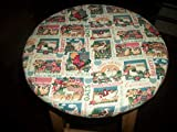 13' Reversible Kitchen Bar Stool Slip Cover Farm Cow Chicken Rooster to Flowers